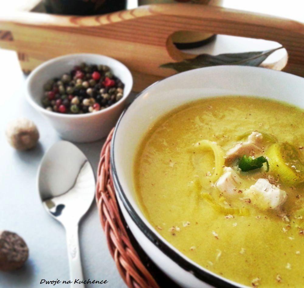 Zupa krem z pora z kurczakiem i curry